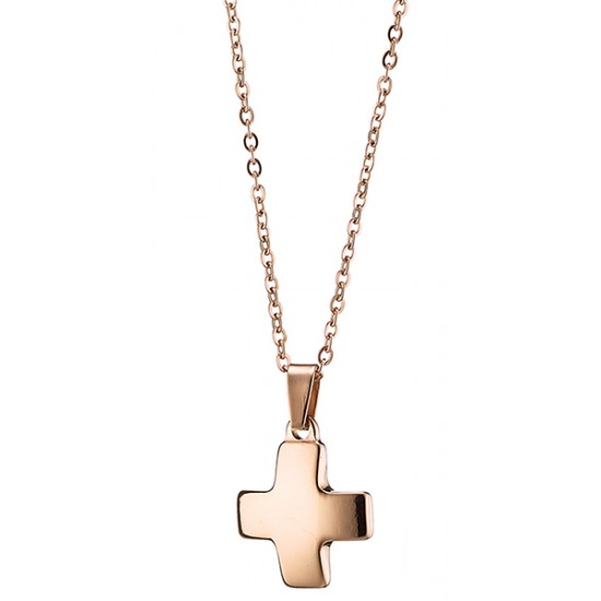 TRENTO Κολιέ σταυρός από ανοξείδωτο ατσάλι σε ροζ χρυσό N-07070R