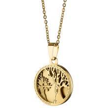 TRENTO Κολιέ δέντρο ζωής από ανοξείδωτο ατσάλι σε χρυσό Ν-07086G