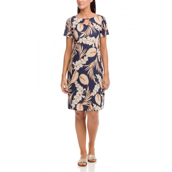 Vamp - Φόρεμα Leaves Plus Size blue marine 12475