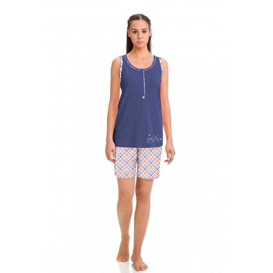 Vamp - Γυναικεία Αμάνικη Πυτζάμα με Κουμπάκια blue coast 14915